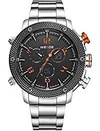 Men Fashion Military Style Sport Stainless Steel Quartz Wrist Watch, Date Alarm Timer (Orange. Weide