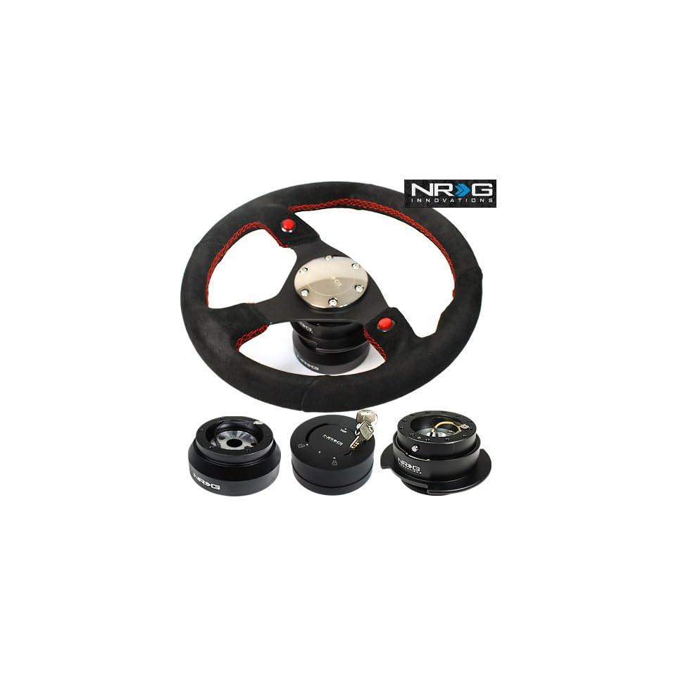 91 96 Toyota Land Cruiser NRG 320MM Steering Wheel + Hub + Quick Release Combo Black