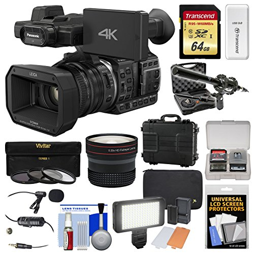 Panasonic HC-X1000 4K Ultra HD Wi-Fi Video Camera Camcorder with Fisheye Lens + 64GB Card + Waterproof Case + LED Light + Microphone Set + Filters Kit