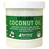 Raw Paws Pet Organic Coconut Oil for Dogs & Cats - 16-ounce - Treatment for Itchy Skin - Dry Nose - Paws - Elbows & Hot Spots - Flea and Tick Prevention - Hairball Control