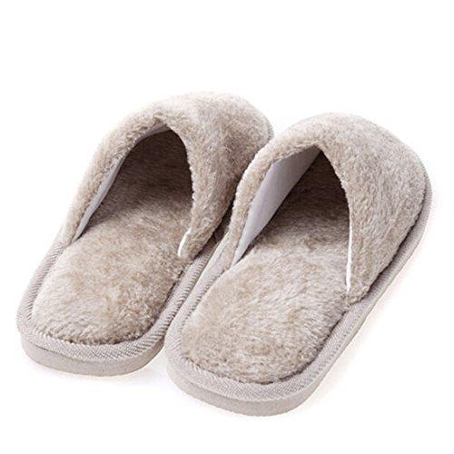 Indoor Warm Round Toe Brown Womens Fuzzy Soft Solid Jiyaru Mens Winter Slippers ZnA0zgg7