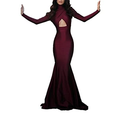 Mermaid Long Sleeves Prom Dresses High Neck Evening Gowns Burgundy-US2