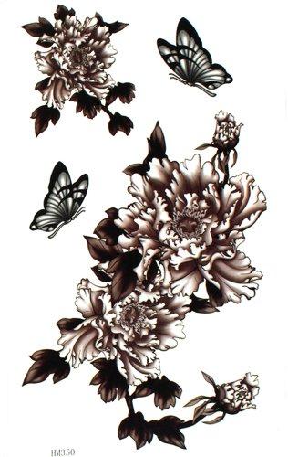GGSELL Fake waterproof and sweat tattoo stickers Peony big sexy butterfly