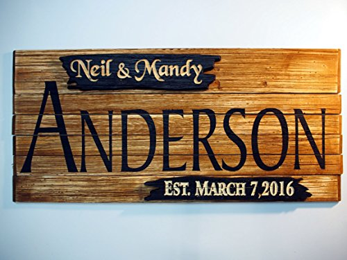 Personalized Family Name Rustic Sign | Wall Art Rustic Home Decor | Vintage Wedding Gifts | Custom Carved Wooden Signs | Anniversary Couple Gift