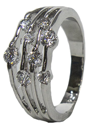 - RS Covenant Women's Rhodium Plated Dress Ring Dew Drop Round Cut CZ 010 (10)