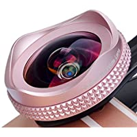 Apexel iPhone Lens, 16mm Wide Angle Camera Lens with CPL Filter Lens Kit for iPhone 7 6/6s 6Plus/6s Plus Samsung Galaxy S7/S6 Most Andriod Smartphones (No Dark Circle)-Pink