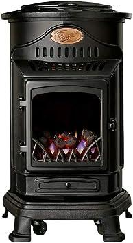 Estufa auxiliar portátil de gas estilo antiguo Provence – Modelo 2019 (negro mate)