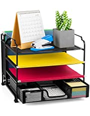 $24 » Bextsware 4-Tier Mesh Desktop Organizer File Folder with Sliding Drawer and Hanging File Holder, Document Letter Tray Holder Desk Accessories Organization Supplies for Office or Home