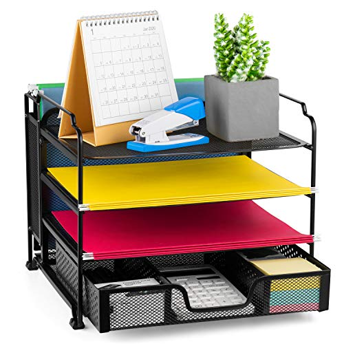 Bextsware 4-Tier Mesh Desktop Organizer File Folder with Sliding Drawer and Hanging File Holder, Document Letter Tray Holder Desk Accessories Organization Supplies for Office or Home