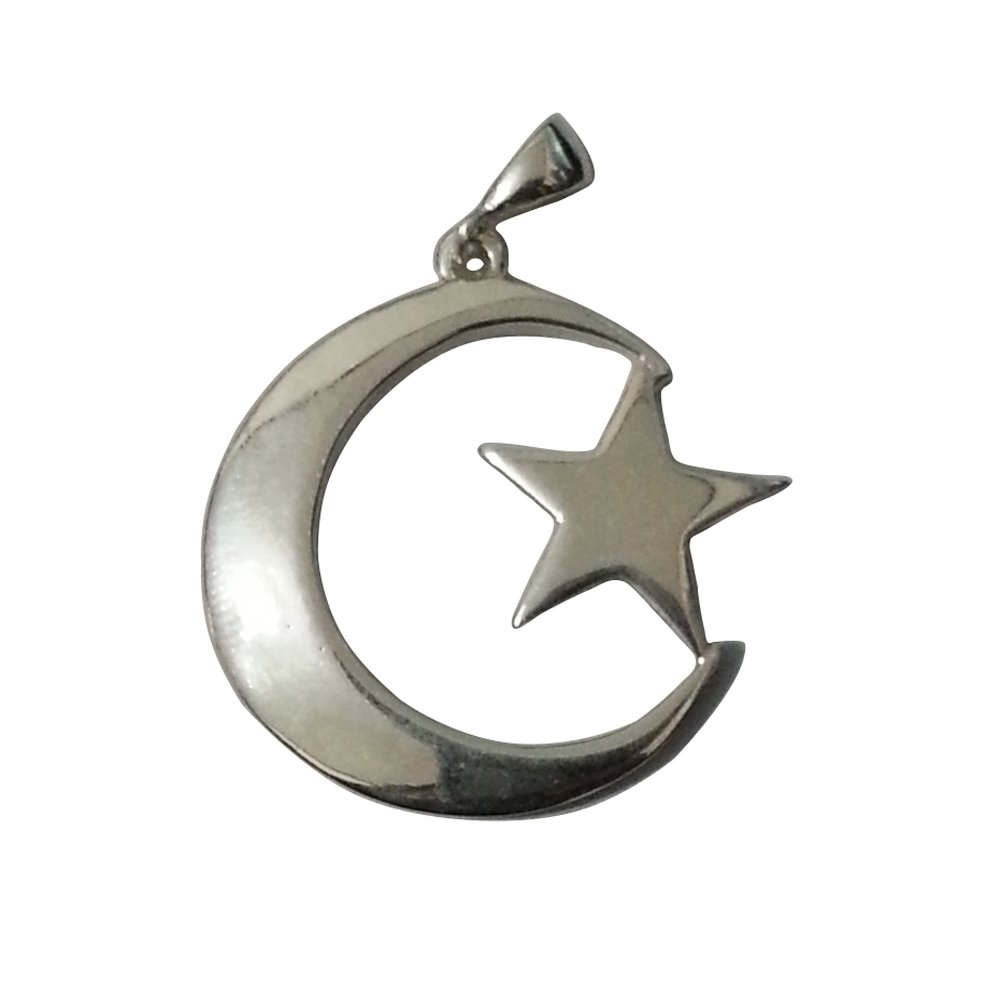 MuslimJewelry Small Sterling Silver Islamic Symbol Crescent Moon /& Star Pendant w//Free Waxed Cotton Cord