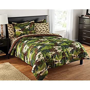 Amazon Com Teen Boy Green Brown Camouflage Twin Comforter