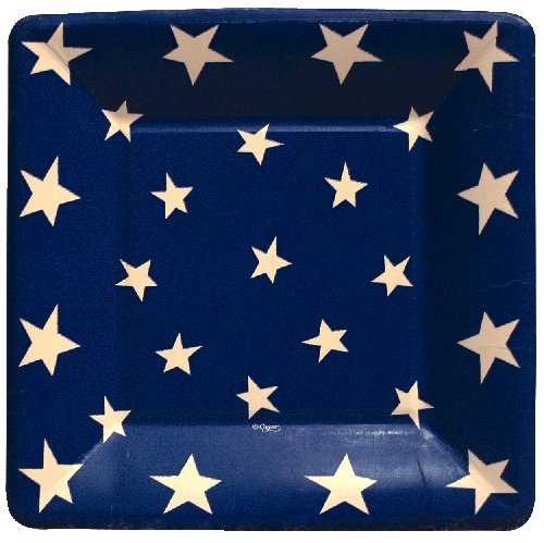 4th of July Party Supplies Paper Plates Luncheon Size Flag Stars and Stripes 16 Count 7 inch Square -