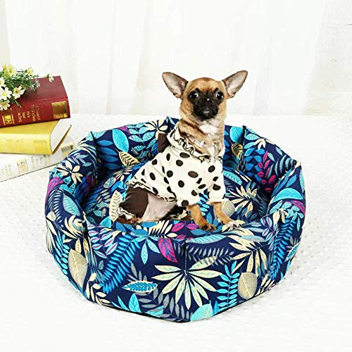 M WANGXIAOLIN Pet nest, cat litter, star anise, non-slip, washable, kennel, bluee pattern, pet bed, cat house, cat bed, four seasons universal (2 sizes) (Size   M)