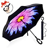 : ZOMAKE Double Layer Inverted Umbrella Cars Reverse Umbrella, UV Protection Windproof Large Straight Umbrella for Car Rain Outdoor With C-Shaped Handle(Purple Flower)