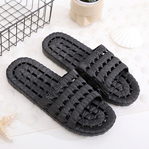 fankou Slippers Male Summer Stay Cool with a Couple of Indoor Slippers Thick Plastic Bath Anti-Slip Bath Slippers Female Soft Bottom,39-40, Dripping Black