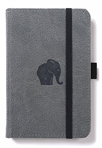 Dingbats Wildlife Pocket A6 (3.2 x 5.7) Portrait Hardcover Notebook - PU Leather, Micro-Perforated 100gsm Cream Pages, Inner Pocket, Elastic Closure, Pen Holder, Bookmark (Dotted, Gray Elephant)