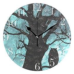 NMCEO Round Wall Clock Winter Owl Ancient Tree Acrylic Original Clock for Home Decor Creative
