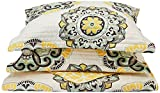 yellow and blue bedding - Chic Home Madrid 4 Piece Reversible Quilt Set Super Soft Microfiber Large Printed Medallion Design with Geometric Patterned Backing Bedding Set with Decorative Pillow and Sham, Full/Queen Yellow