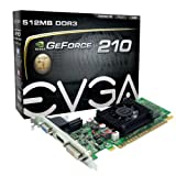 EVGA GeForce 210 512 MB DDR3 PCI Express 2.0 DVI/HDMI/VGA Graphics Card, 512-P3-1310-LR
