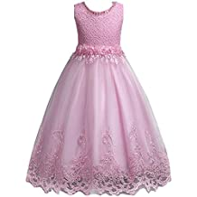 Little/Big Girls Embroidered Lace Wedding Birthday Party Pageant Dress