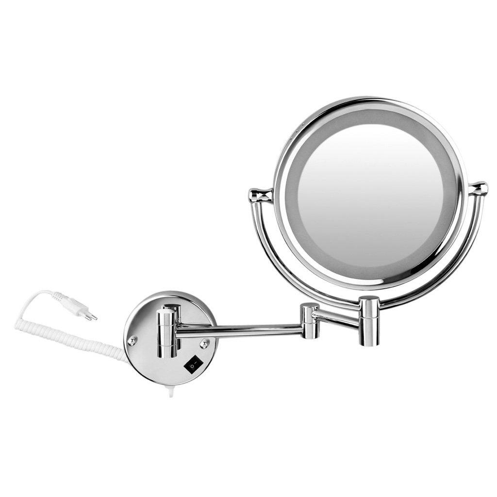 SODIAL(R)8, 5 Zoll LED Wundeschoene LED Wandspiegel Kosmetikspiegel Standspiegel Schminkspiegel 5/7/10-fach Zoom Badspiegel (5fach) Silber
