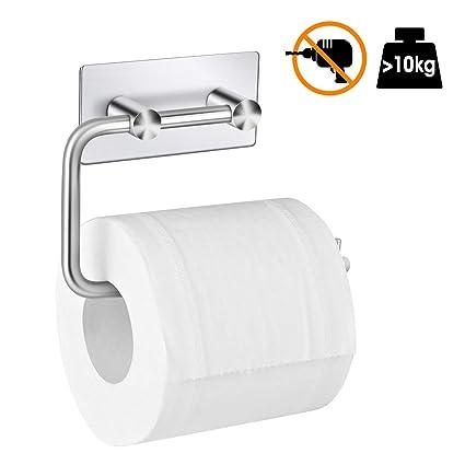 DIGOO Portarrollo para Papel Higiénico, Toallero de Papel Higienico Acero Inoxidable con 3M Autoadhesivo, Colgar Papel del Higiene Toalla para Baño