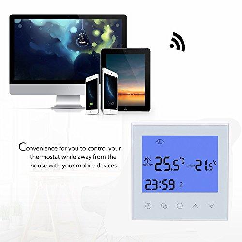 Termostato Programable wifi de calefacción eléctrica, Inteligente de LCD Pantalla Táctil, 16A 230V Remoto de 7 días Iluminar desde el fondo blanco: ...