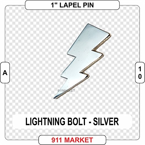 Lightening Bolt Lapel Pin Silver Paramedic EMT Save ROSC EMS A 10