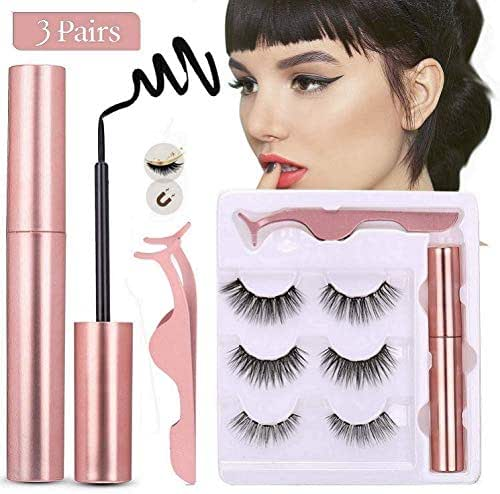 Magnetic Eyeliner and Magnetic Eyelashes,Waterproof Magnetic Eyeliner Set,Eyelashes With Natural Look,Easy to Wear,With Reusable Lashes (3 Styles)