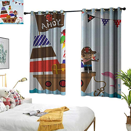 (Warm Family red Curtains Ahoy Its a Boy,Cute Pirate Kids Treasure Chest with Ship on Ocean Background Illustration, Multicolor 84
