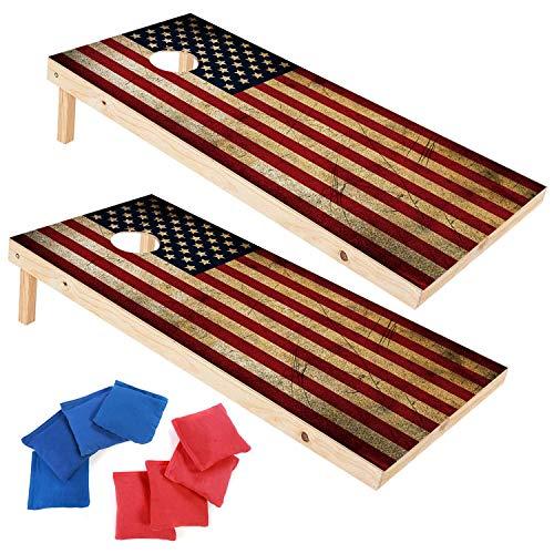 EXERCISE N PLAY Wood Premium Cornhole Set, Cornhole Toss Game Set, Backyard Lawn Cornhole Outdoor Game Set, Regulation Size Cornhole Boards & 8 Cornhole Bean Bags (4ft x 2ft)