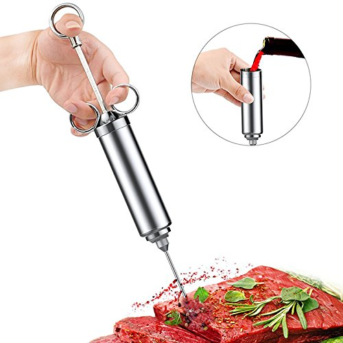 AmazeFan Marinade Injector Kit, FDA Certificated Marinaters Food Grade 304 Stainless Steel Meat Injector Kit with 2-oz Large Capacity Barrel and 3 Marinade Needles Dish Washer Safe Seasoning Injector