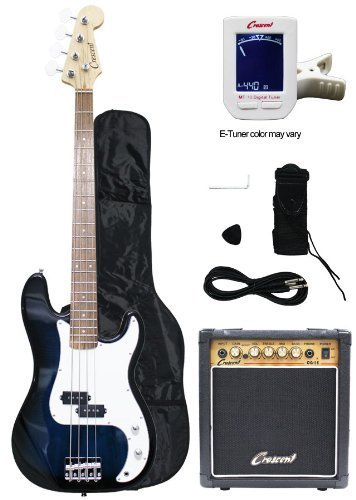 Large Product Image of Crescent Electric Bass Guitar Starter Kit - Transparent Blue Color (Includes Amp & CrescentTM Digital E-Tuner)