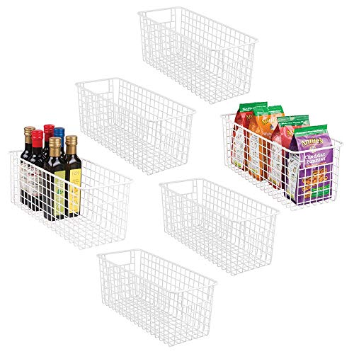 """mDesign Farmhouse Decor Metal Wire Food Storage Organizer Bin Basket with Handles for Kitchen Cabinets, Pantry, Bathroom, Laundry Room, Closets, Garage - 16"""" x 6"""" x 6"""" - 6 Pack - Matte White"""