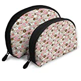 ElephantAN Chocolate Donuts Pink Multifunction Shell Portable Bags,Storage Bag,Buggy Bag,Travel Cosmetic Bags,Small Makeup Clutch,Pouch Cosmetic,Toiletries Organizer Bag