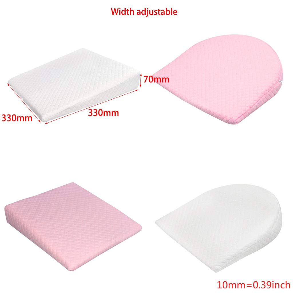 Pink, Triangle huwaioury Babycare Newborn Baby Sleep Pillow Anti Baby Spit Milk Crib Cot Sleep Positioning Wedge Pillow Memory Foam Infant Nursing Pillow