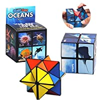 Magic Star Cube,SHONCO Combo Infinity Cube Toy Transforming Geometric Puzzle 3D Assembly Fidget Stress Anxiety Relief Magic Puzzle Cubes for Kids and Adults (Ocean Series)