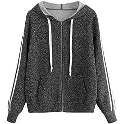 Zipper Hoodies Sweater Teen,Hemlock Women Sweatshirt Jumper Coat Casual Pocket Pullovers Tops (L, Black)