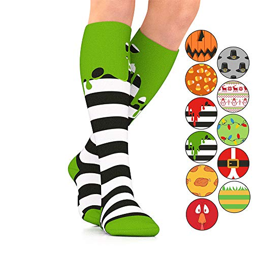 Go2Socks GO2 Holiday Compression Socks Women Men Nurses Runners 15-20 mmHg(Medium) Medical Stocking Maternity Travel-Best Performance Recovery Circulation Stamina(GreenOoze,S)