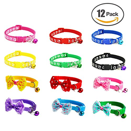 Set Soft Nylon Puppy Cat ID Collar Adjustable Whelping Litter Bow Ties Collars with Bell (Wide Nylon Puppy Collar)