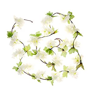 UUPP 2Pcs 7.2FT Artificial Cherry Blossom Flower Garland Silk Fake Flower Hanging Vine for Home Hotel Office Garden Wedding Party Outside Decoration, White 3