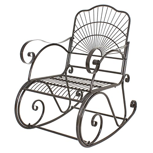 Wrought Iron Rocking Chair Outdoor Porch Patio Rocker Chairs Seat Outdoor Furniture Antique Style(1)