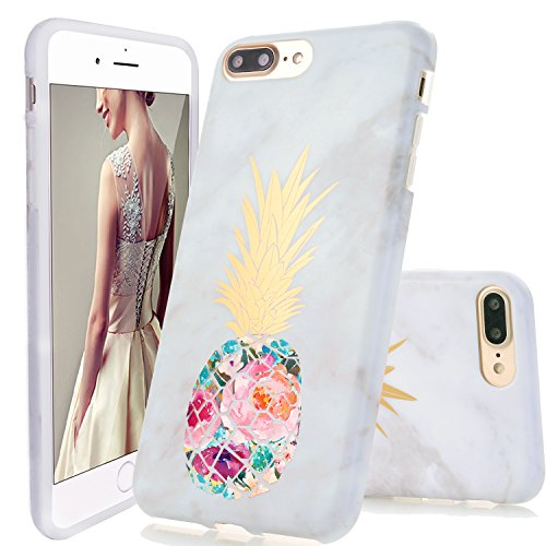 iPhone 7 Plus Case,iPhone 8 Plus Case,DOUJIAZ Marble Design Clear Bumper TPU Soft Case Rubber Silicone Skin Cover for iPhone 7 Plus (2016) / iPhone 8 Plus (2017) – Flower Pineapple