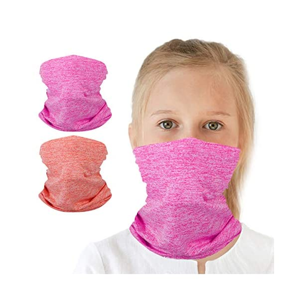 2 Packs Kids UV Protection Face Cover Neck Gaiter for Hot Summer Cycling Hiking Sport Outdoor