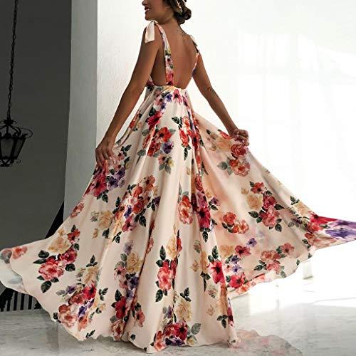 Back Mensdxa Skirt Flower Abito Print Maxi Large Swing Leaky Sling Sleeveless Apricot Dress sQthrd