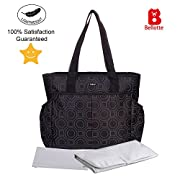 Bellotte Diaper Tote Bags - Multi-Function Waterproof Travel Tote Bag Nappy Bags for Baby Care with Stroller Straps, Changing Pad and Sundry Bag, Large Capacity, Stylish and Durable (Black)