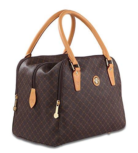 Signature Satchel Handbag - Rioni Squared Bowler Satchel St20278 Classic Signature Brown Canvas Leather Handbag