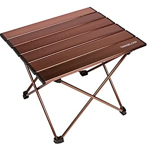 Trekology Camping / Beach Table with Aluminum Table Top  Portable Folding Table in a Bag for Beach, Picnic, Camp, Patio, Fishing, RV, Indoor, Brown Color