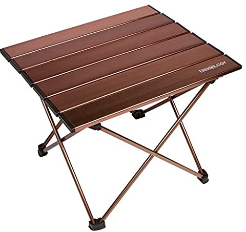 Trekology Camping / Beach Table with Aluminum Table Top Portable Folding Table in a Bag for Beach, Picnic, Camp, Patio, Fishing, RV, Indoor, Brown - Low Target Sets