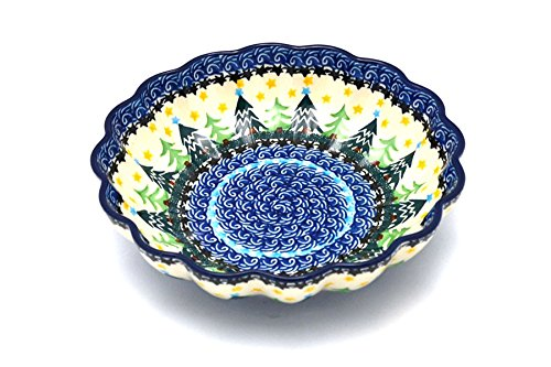 Polish Pottery Bowl - Shallow Scalloped Bowl (7 1/2